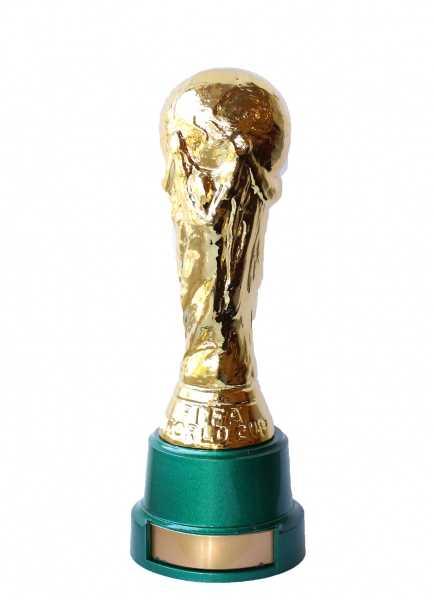 Mini réplica da Copa Fifa com pedestal