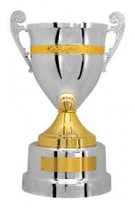 Taça prateada e dourada c/ alça Ref. 700192 - Alt. 53 cm