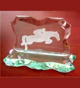 Vidro - Troféu Personalizado - Jateado em Vidro Apicoado (Hipismo)